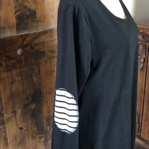 Tops - Long Sleeve Elbow Patch Tunic with buttons